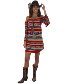 Honey Creek by Scully Women's Serape Off Shoulder Long Sleeve Dress, Multi, hi-res