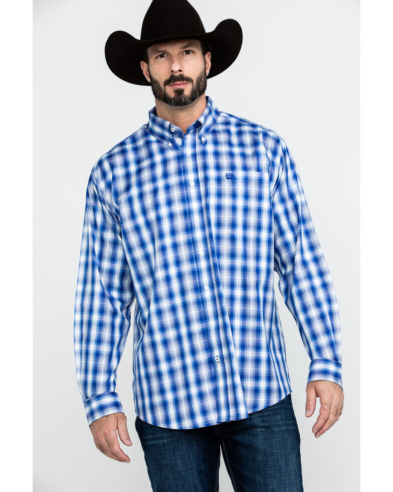 Cinch Men's Multi Tencel Fabric Plaid Button Long Sleeve Western Shirt , Purple, hi-res