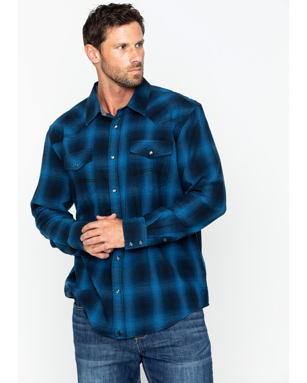 Cody James Men's Wolf Pack Long Sleeve Flannel Shirt , Blue, hi-res