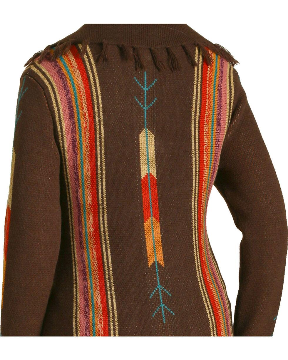 Wrangler Women's Rust Serape Stripe Duster Cardigan , Brown, hi-res