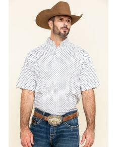 Ariat Men's Napden Stretch Bull Geo Print Short Sleeve Western Shirt , White, hi-res
