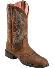 Ariat Men's Heritage Stockman Saddle Vamp Cowgirl Boots - Round Toe, Driftwood, hi-res