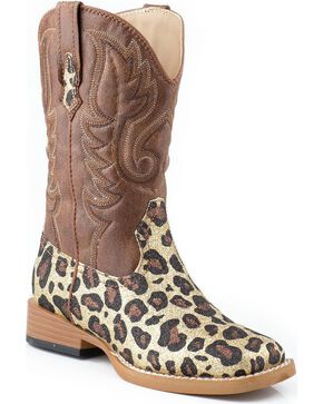 Roper Girls' Glittery Brown Leopard Print Cowgirl Boots - Square Toe, Gold, hi-res