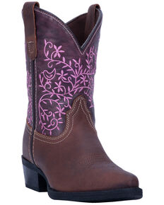 Dan Post Youth Girls' Pink Marissa Western Boots - Snip Toe, Brown, hi-res