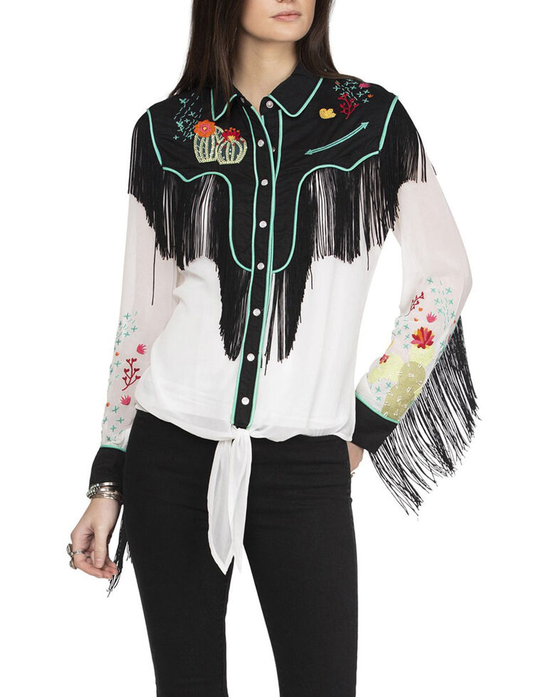 Double D Ranch Women's Walkin' After Midnight Top, White, hi-res