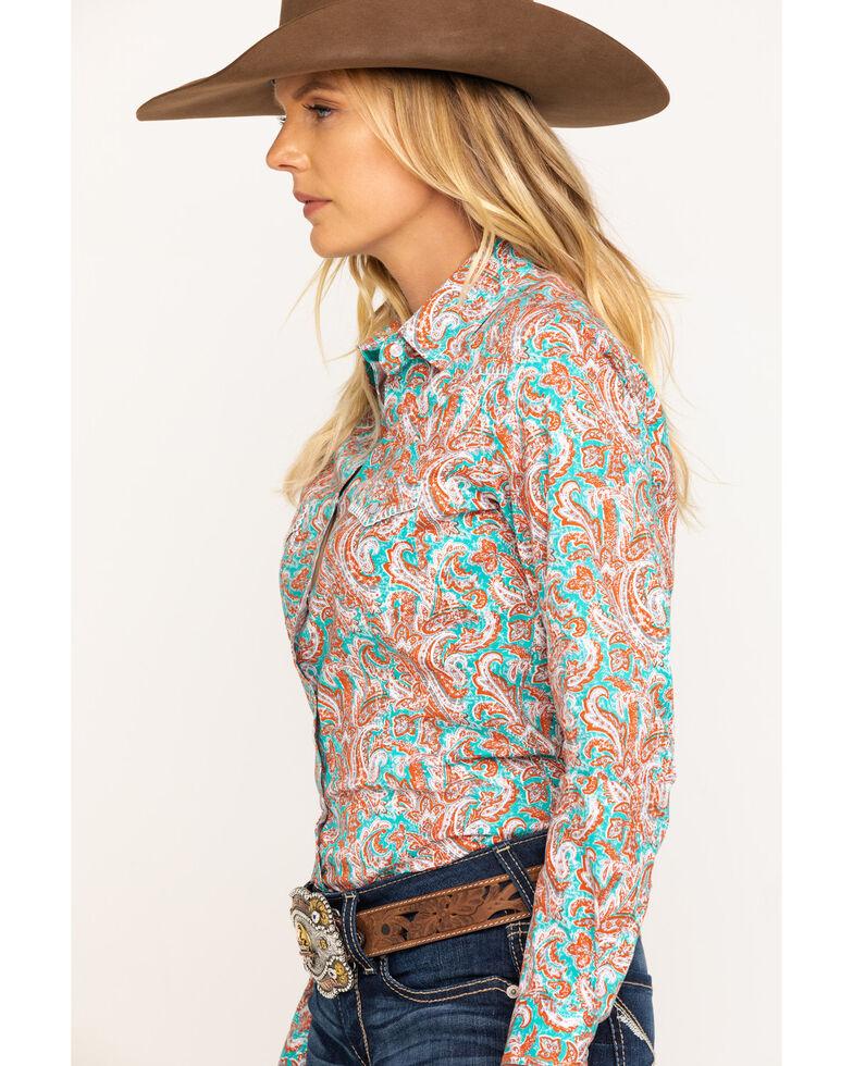 Rough Stock by Panhandle Women's Teal Bellaria Vintage Print Long Sleeve Western Shirt, Rust Copper, hi-res