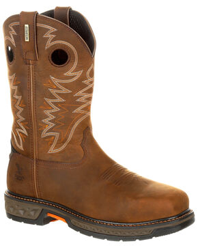 Georgia Boot Men's Carbo-Tec LT Waterproof Western Work Boots - Alloy Toe, Brown, hi-res