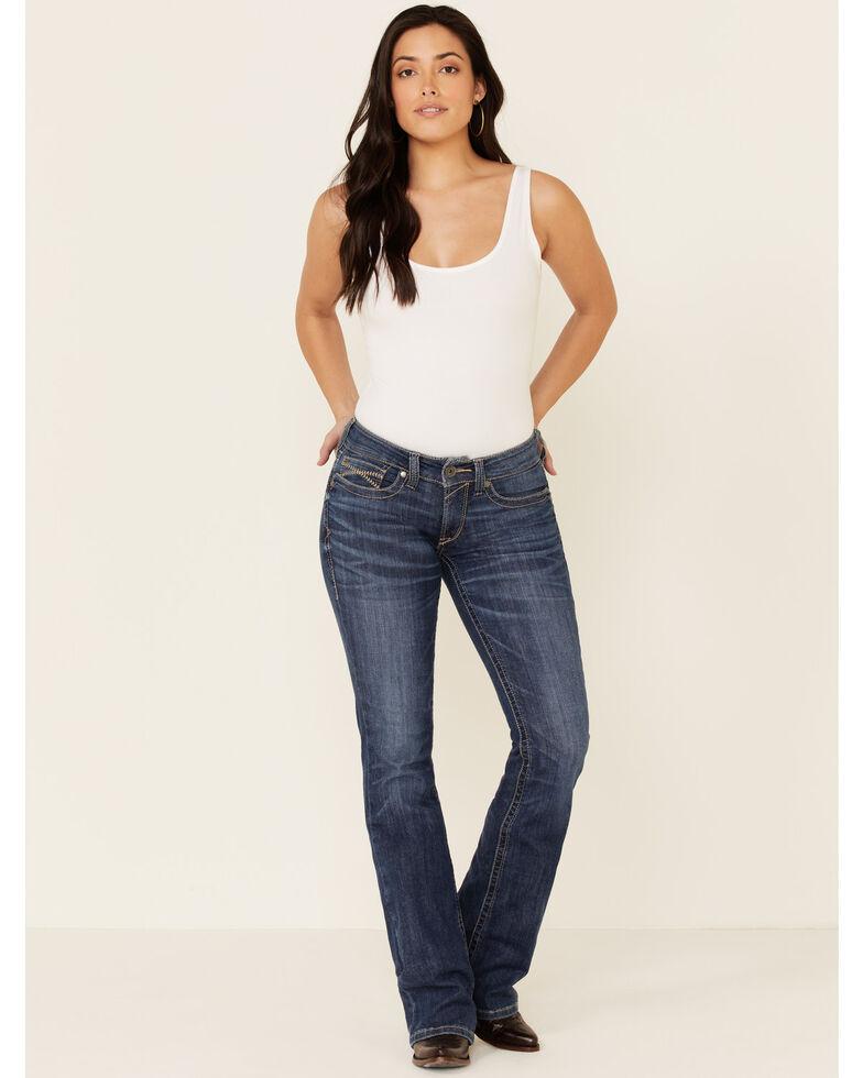 Ariat Women's Chevron Line Bootcut Jeans, Blue, hi-res