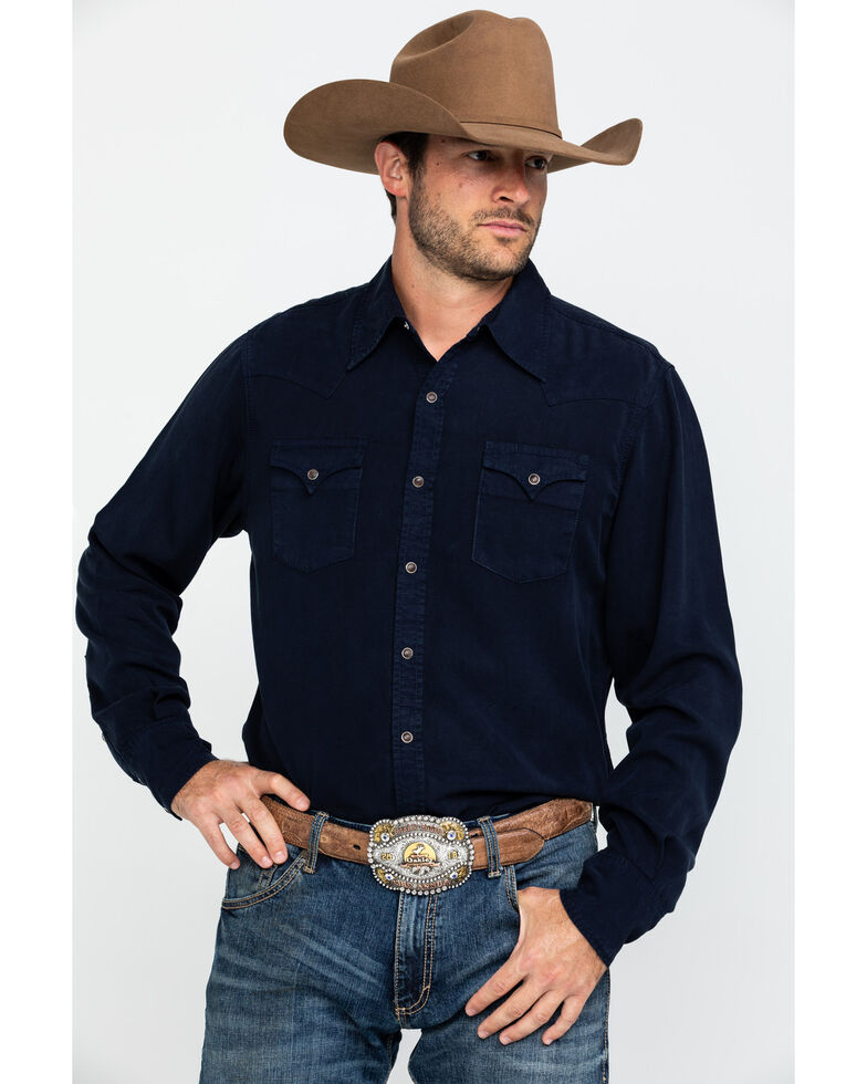 Stetson Men's Navy Tencel Solid Twill Long Sleeve Western Shirt , Blue, hi-res