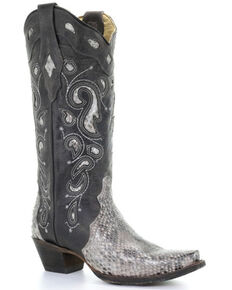 Corral Women's Natural Python Western Boots - Snip Toe, Natural, hi-res