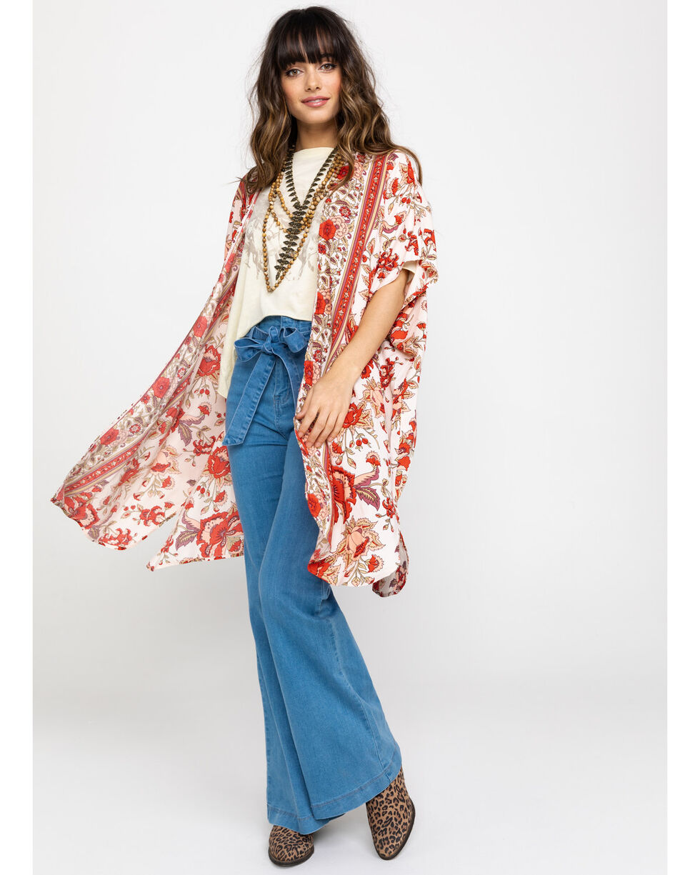 Angie Women's Cream & Rust Floral Kimono, Rust Copper, hi-res