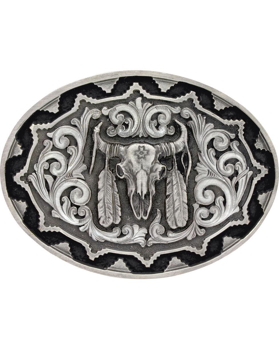 Montana Silversmiths Buffalo Skull Belt Buckle, Silver, hi-res