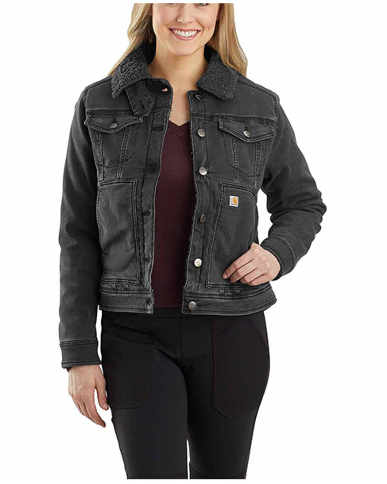 Carhartt Women's Black Rugged Flex Denim Sherpa Lined Jacket , Black, hi-res