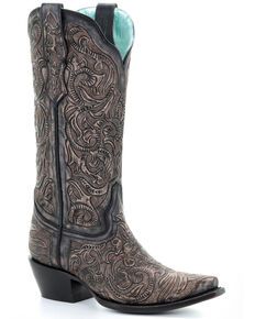 Corral Women's Black Hand Tooled Western Boots - Snip Toe, Black, hi-res