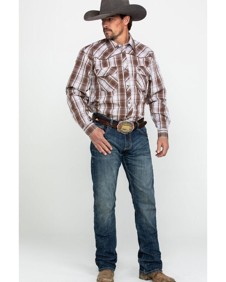 Cowboy Hardware Men's Fellow Plaid Long Sleeve Western Shirt , Chocolate, hi-res