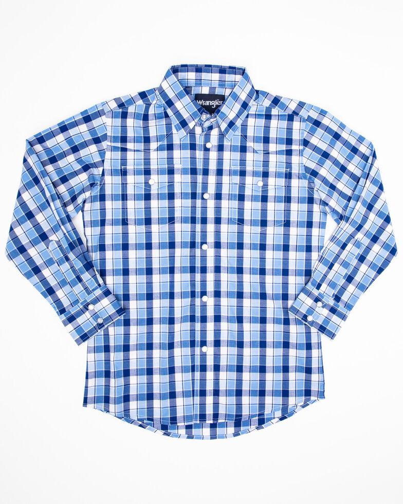 Wrangler Boys' Wrinkle Resist Blue Plaid Long Sleeve Western Shirt , Blue, hi-res