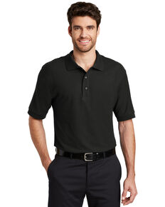 Port Authority Men's Black Silk Touch Short Sleeve Polo Shirt - Big , Black, hi-res