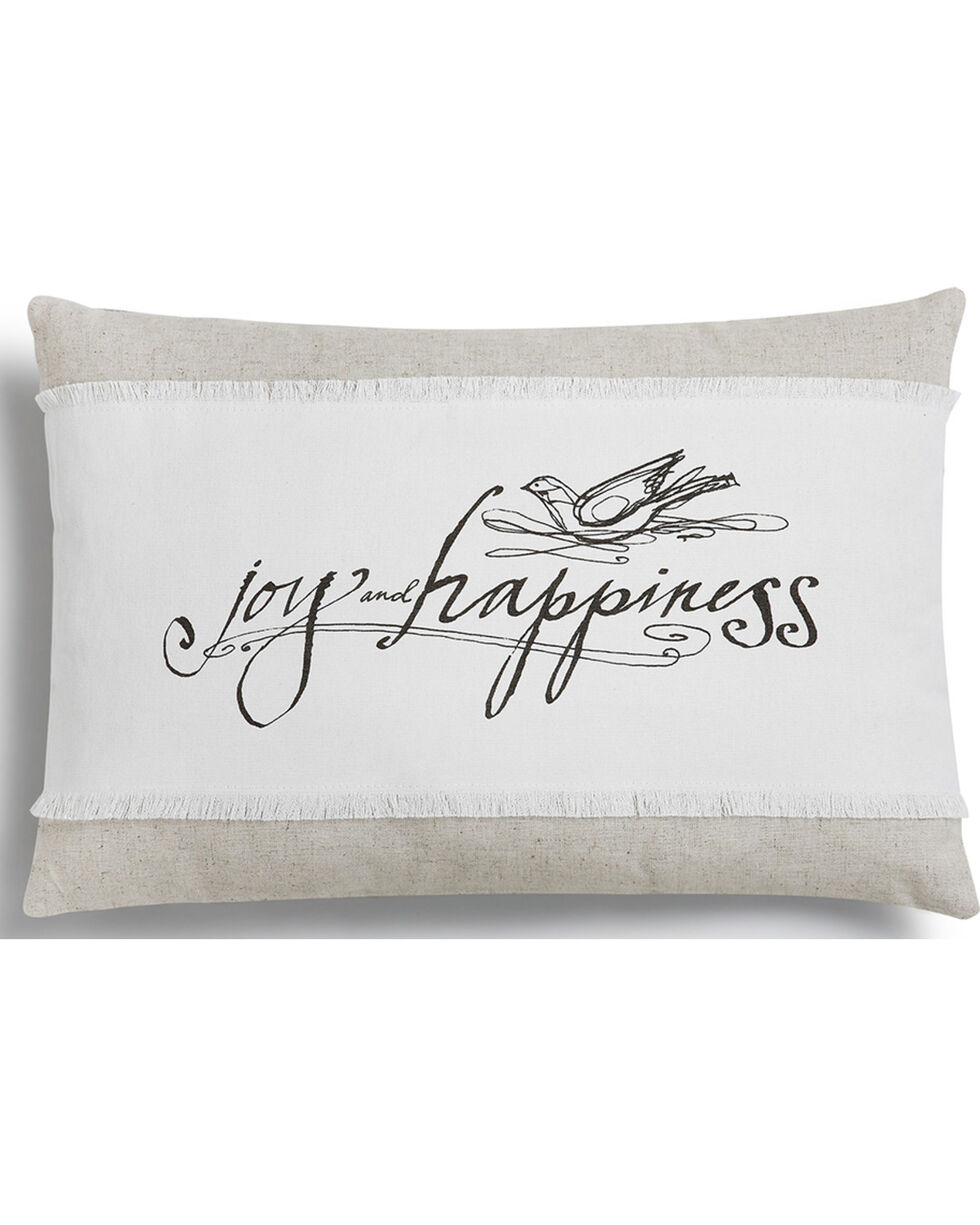 Demdaco White Poetic Threads Joy & Happiness Throw Pillow , White, hi-res