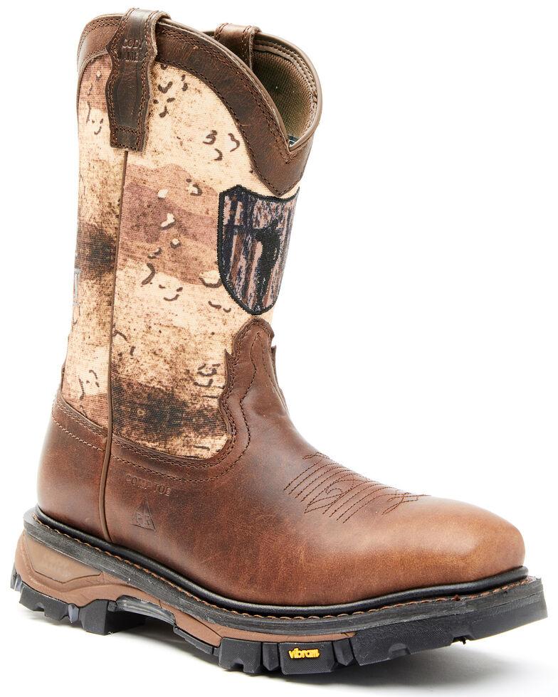 Cody James Men's Camo Flag Decimator Composite Work Boot - Wide Square Toe  , Brown, hi-res