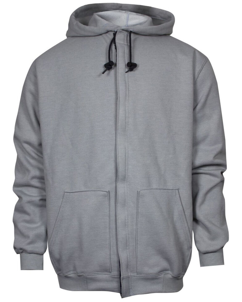 National Safety Apparel Men's Grey FR Heavyweight Zip Front Hooded Work Sweatshirt - Tall, Grey, hi-res