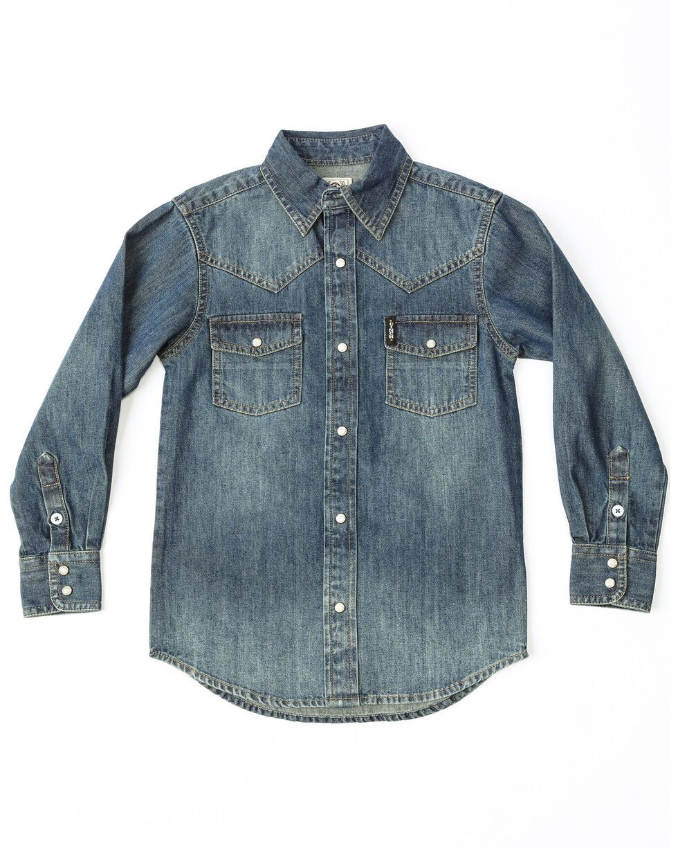 Cinch Boys' Denim Long Sleeve Snap Western Shirt , Indigo, hi-res