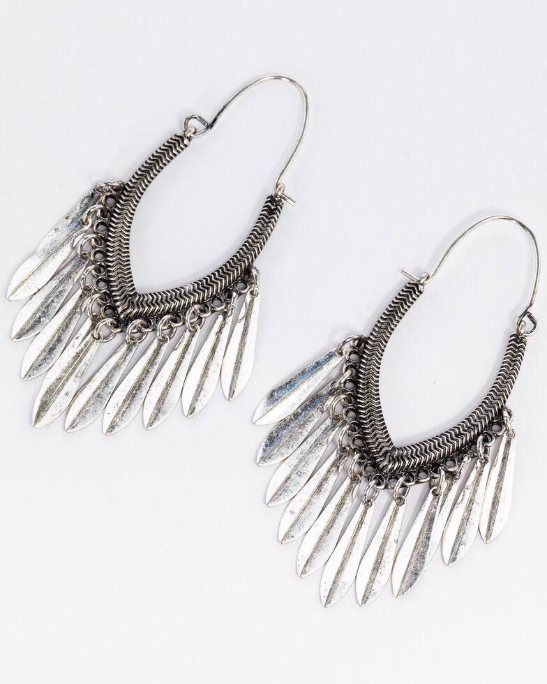Idyllwind Women's Rodeo Rebel Fringe Hoop Earrings, Silver, hi-res