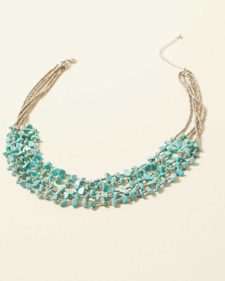 Shyanne Women's Bella Grace Multi Strand Turquoise Stone Bib Necklace, Silver, hi-res