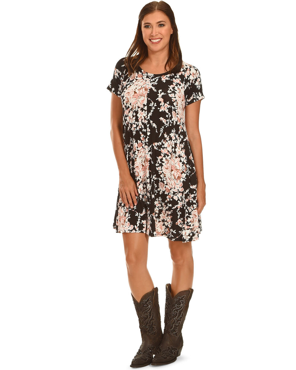 Ces Femme Women's Black Floral Short Sleeve Knit Dress , Black, hi-res