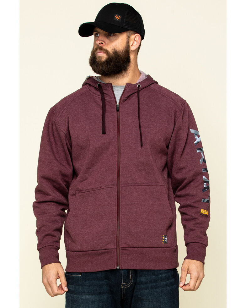 Ariat Men's Dark Burgundy Rebar Camo Flag Graphic Hooded Zip Front Work Jacket , Dark Red, hi-res