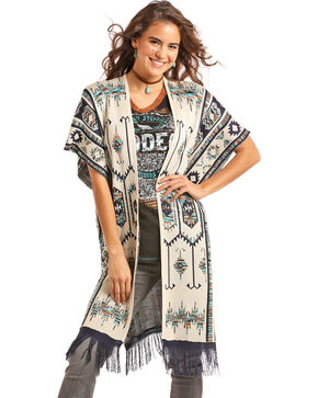 Powder River Outfitters Women's Cream Aztec Sweater Kimono , Cream, hi-res