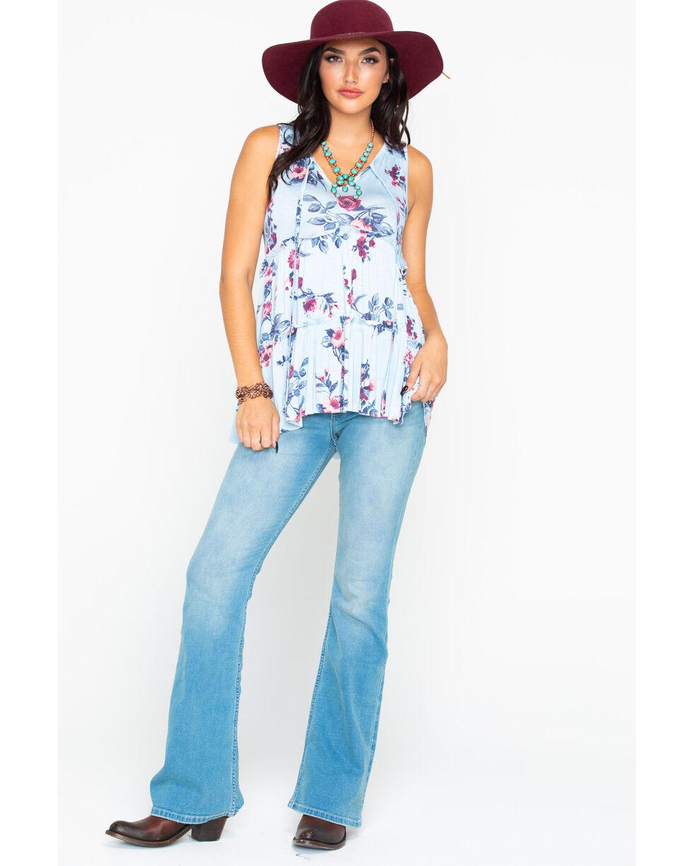 Panhandle Women's Light Blue Floral Print Layered Ruffle Tie Top , Light Blue, hi-res
