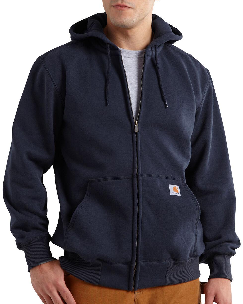 Carhartt Rain Defender Paxton Heavyweight Zip Front Hoodie, Navy, hi-res