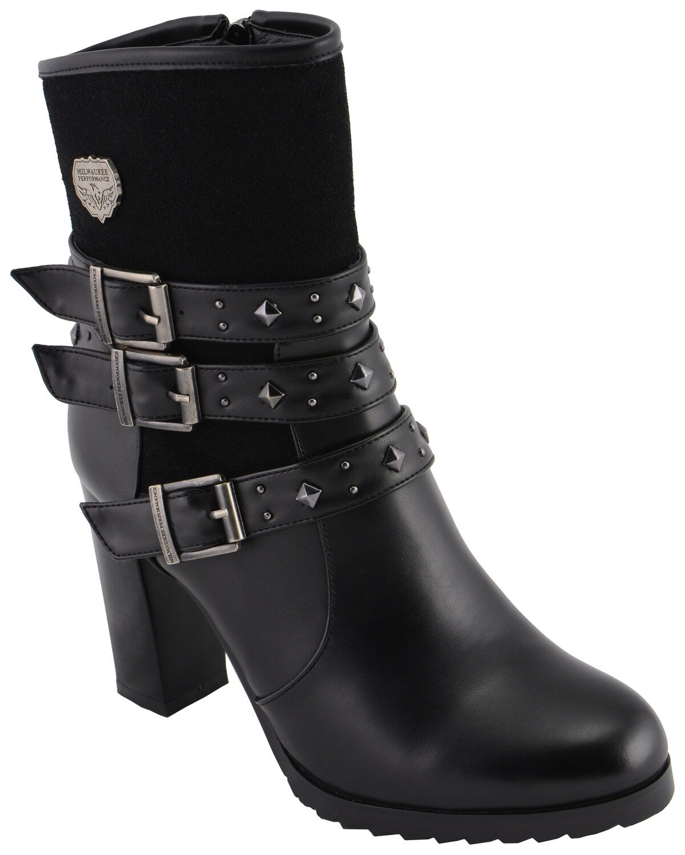 Black, Size 8 Milwaukee Performance Womens Triple Buckle Side Zip Boots with Platform Heel