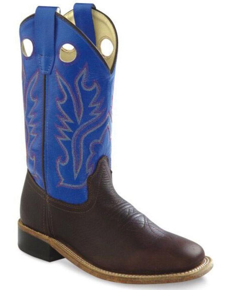 Old West Boys' Blue Shaft Western Boots - Wide Square Toe, Brown, hi-res