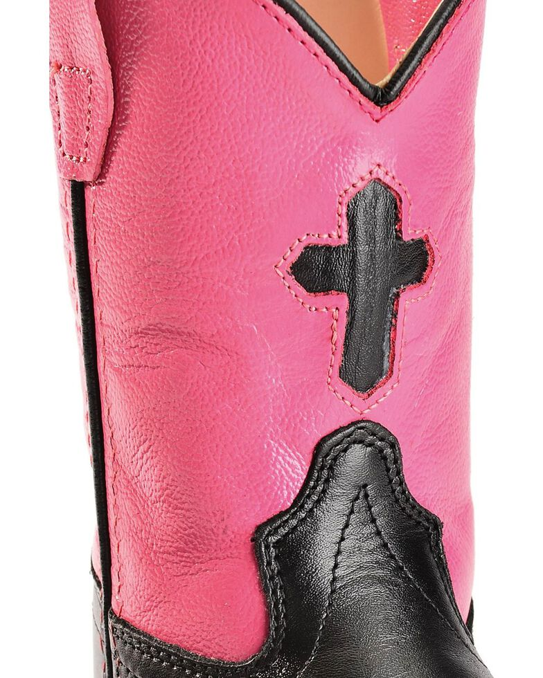 Old West Toddler Girls' Cross Cowgirl Boots, Black, hi-res