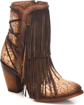 Corral Women's Sanded Tobacco Fringe Boots - Round Toe, Sand, hi-res