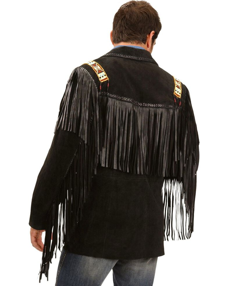 Scully Men's Bone Beaded Fringe Leather Jacket, Black, hi-res