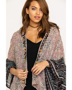 Mystree Women's Blush Floral Border Tassel Kimono, Blush, hi-res