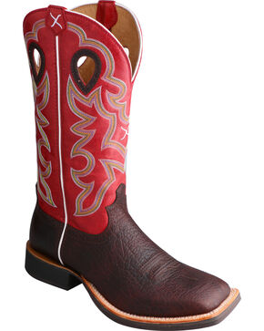 Twisted X Men's Ruff Stock Square Toe Western Boots, Cognac, hi-res