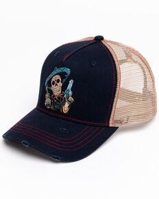 Moonshine Spirit Men's Sugar Skull Ball Cap , Navy, hi-res