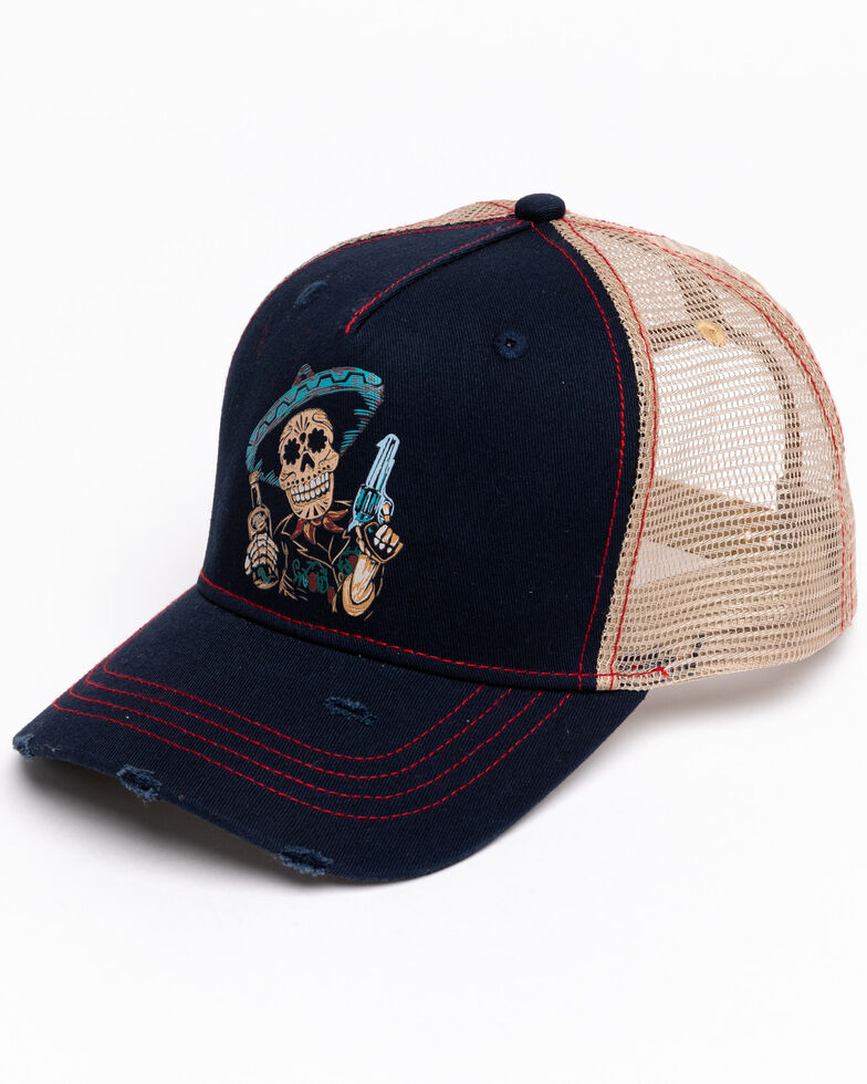 Moonshine Spirit Men's Sugar Skull Ball Cap , Navy, hi-res
