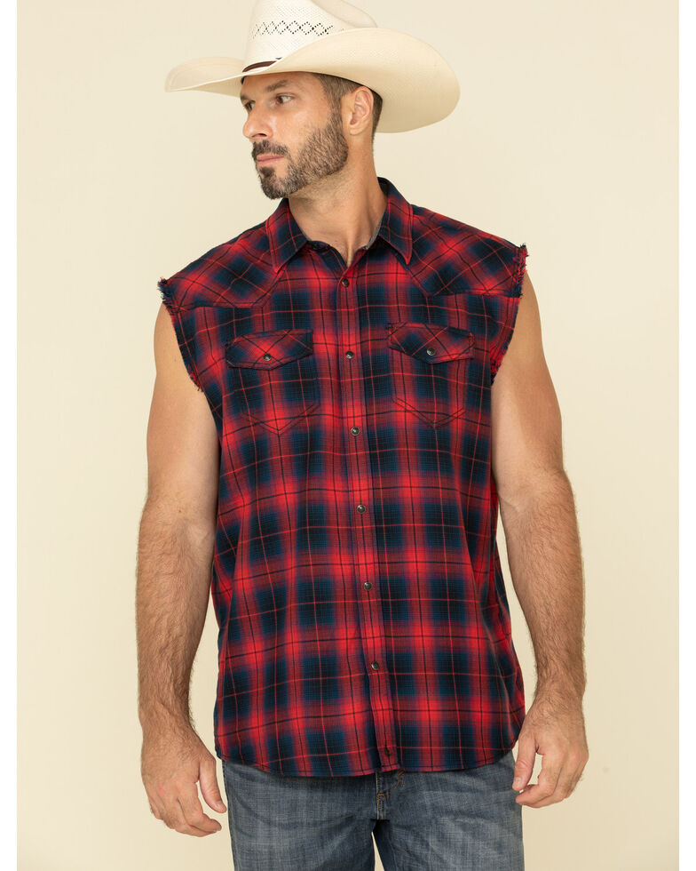 Cody James Men's Hillbilly Bubba Plaid Sleeveless Snap Western Shirt , Blue, hi-res
