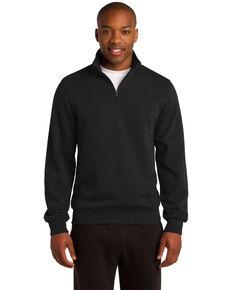 Sport Tek Men's 1/4 Zip Pullover Sweatshirt , Black, hi-res