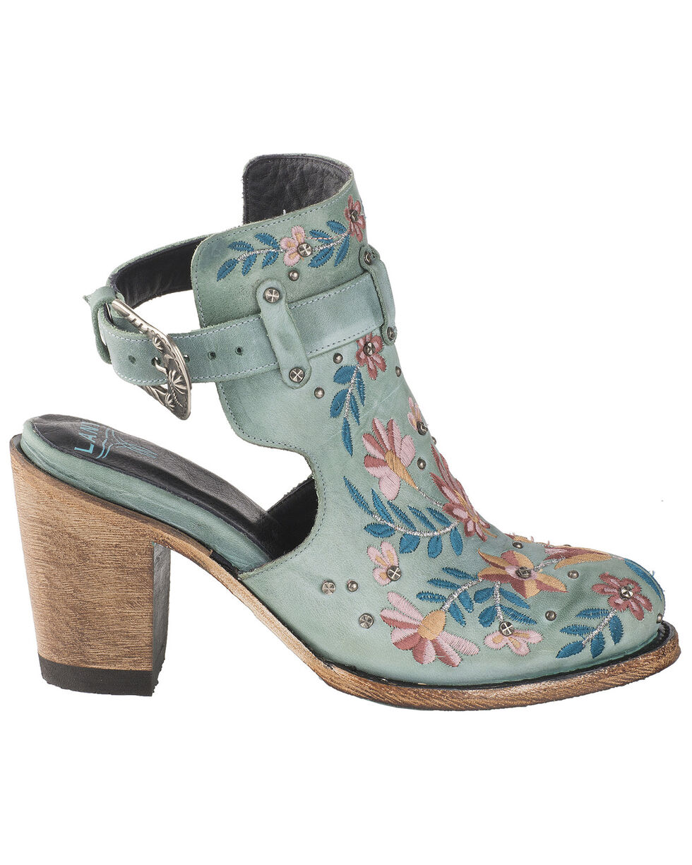 Lane Women's Floral Halfsie Fashion Booties - Round Toe, Turquoise, hi-res