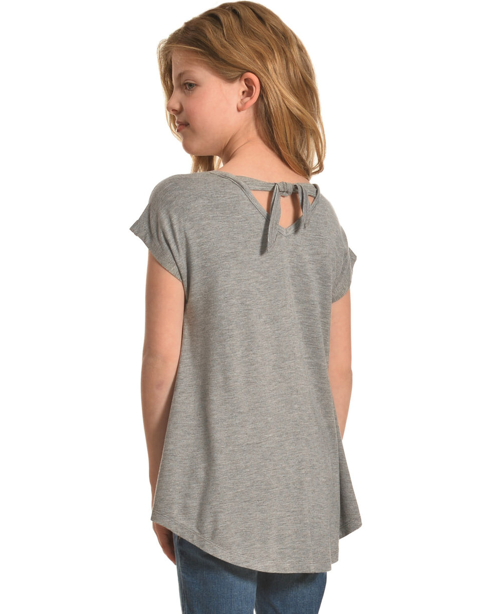 Shyanne Girls' Glittering Horse Tie-Back Top, Grey, hi-res