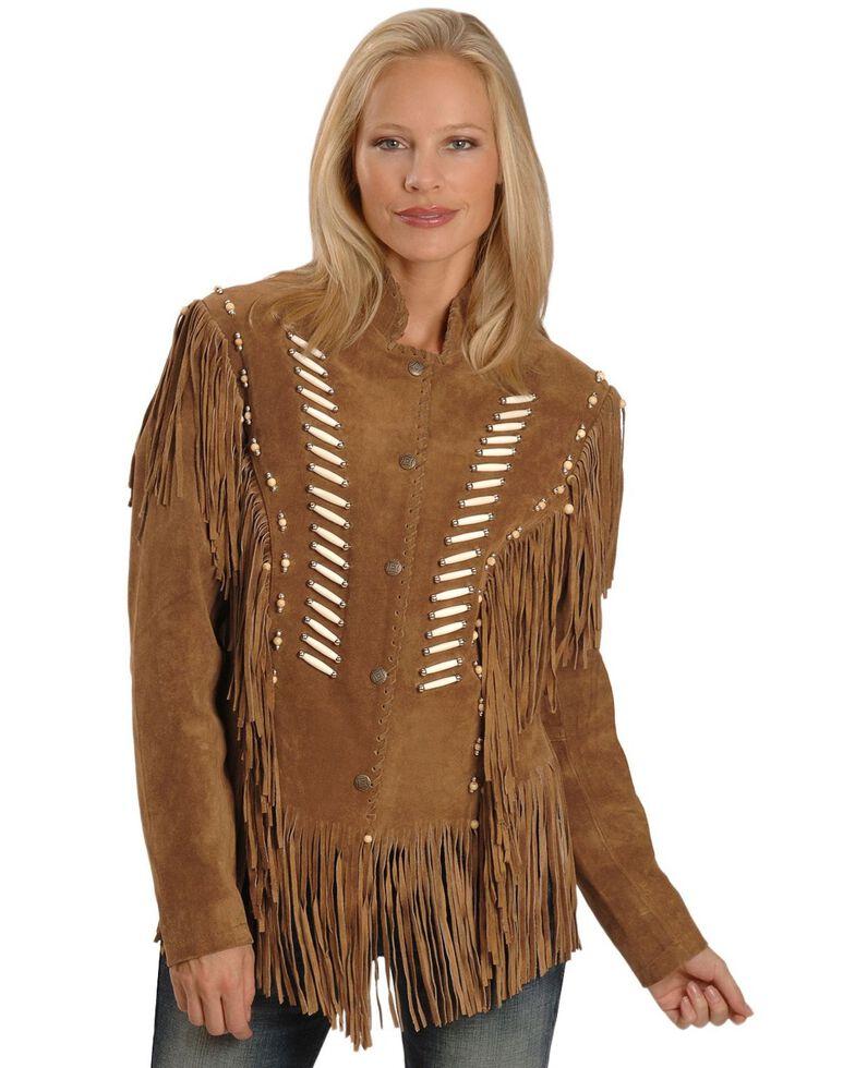 Liberty Wear Bone Bead & Fringe Leather Jacket, Tobacco, hi-res