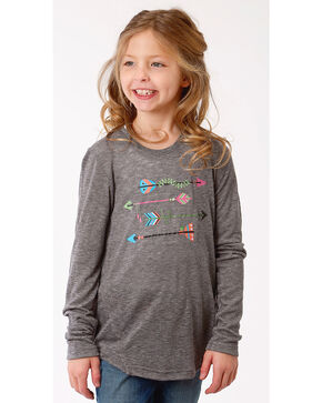 Roper Girls' Long Sleeve Arrow Tee, Grey, hi-res