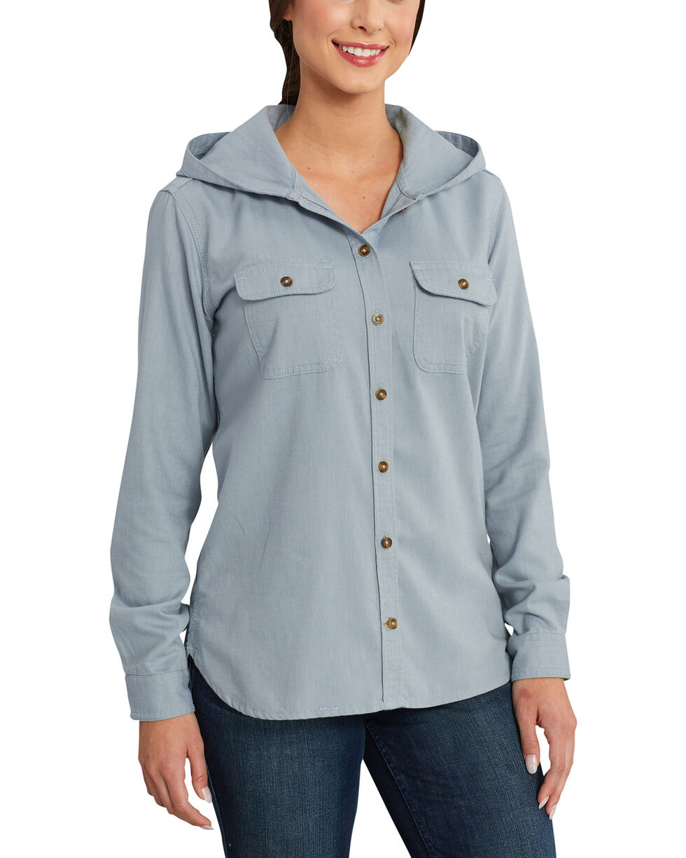 Carhartt Women's Light Blue Belton Flannel Work Shirt , Light Blue, hi-res