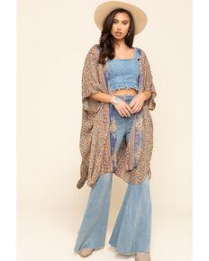 Angie Women's Blue Floral Border Print Crinkle Kimono , Blue, hi-res