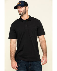 Hawx Men's Black Miller Pique Short Sleeve Work Polo Shirt , Black, hi-res